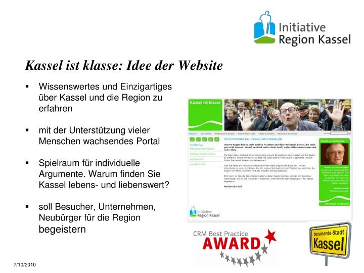 Kassel ist klasse: Idee der Website