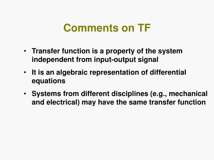 Comments on TF