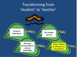 transforming from student to teacher
