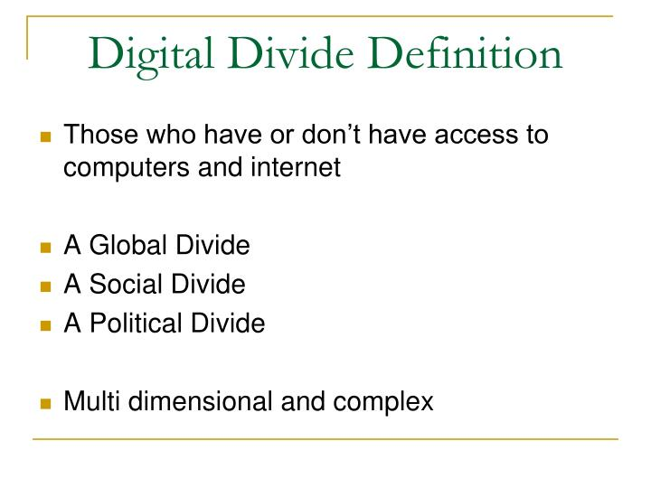 an analysis of the digital divide a social issue The digitally ready, in other words, have high demand for learning and use a range of tools to pursue it - including, to an extent significantly greater second, while there are numerical descriptions of the groups, there is some fluidity in the boundaries of the groups unlike many other statistical techniques.