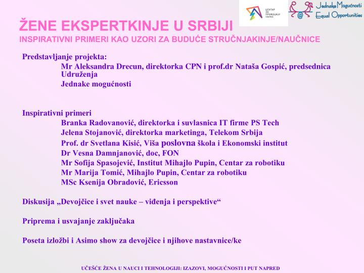 ŽENE EKSPERTKINJE U SRBIJI