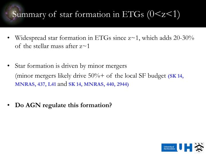 Summary of star formation in ETGs