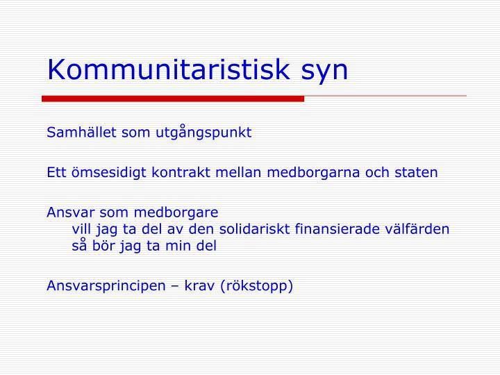 Kommunitaristisk syn