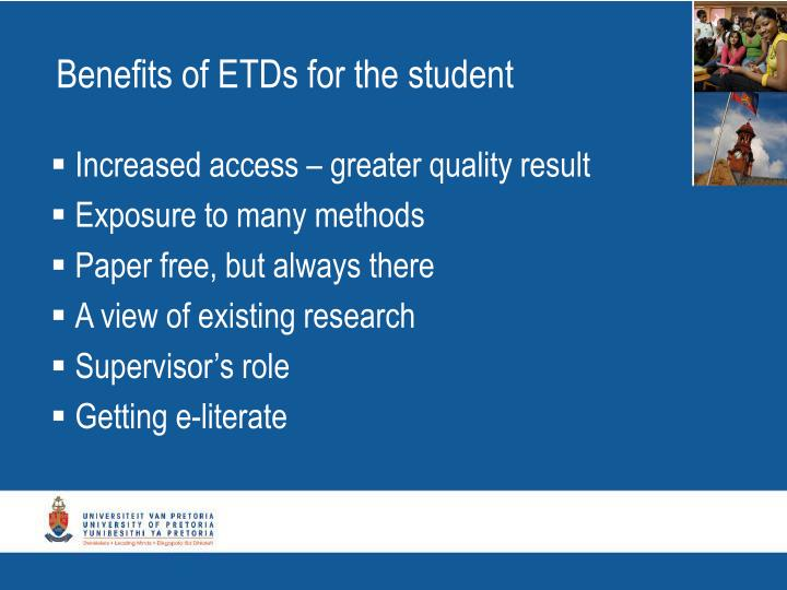 Benefits of ETDs for the student
