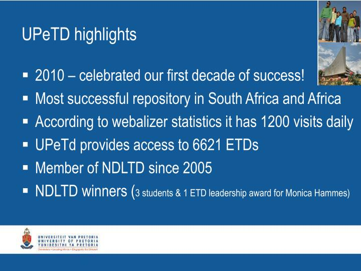 UPeTD highlights