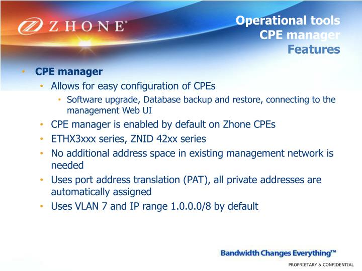 Operational tools cpe manager features
