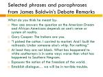 selected phrases and paraphrases from james baldwin s debate remarks