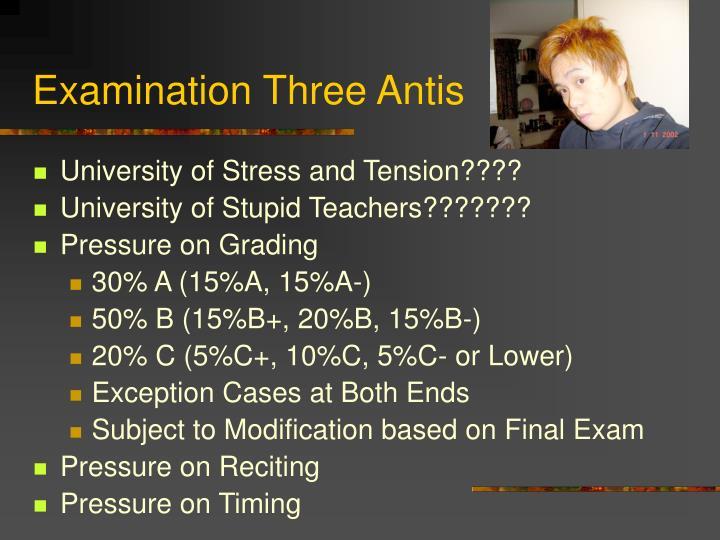 Examination three antis