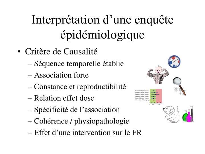 Interprétation d'une enquête épidémiologique