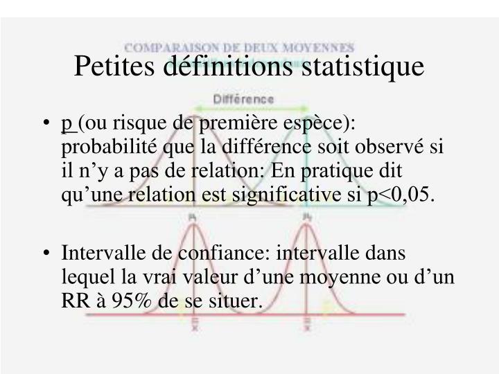 Petites définitions statistique