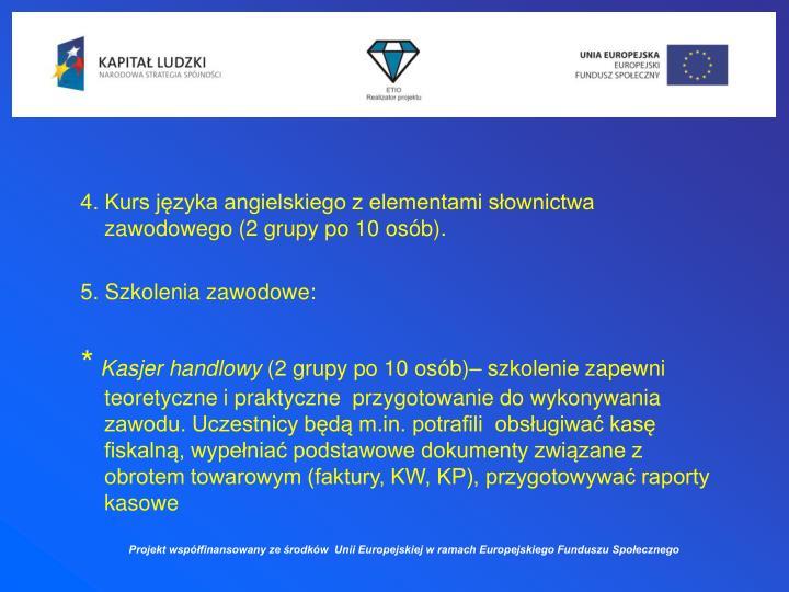 4. Kurs języka angielskiego z elementami słownictwa zawodowego (2 grupy po 10 osób).