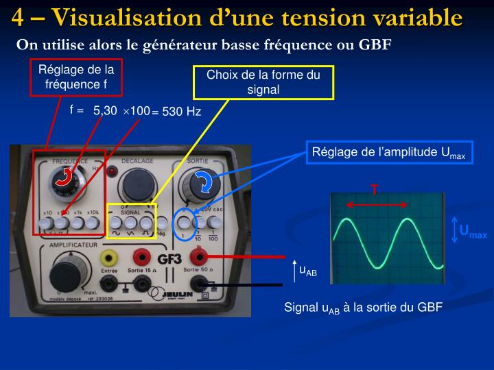 4 – Visualisation d'une tension variable
