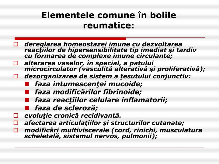 Elementele comune n bolile reumatice
