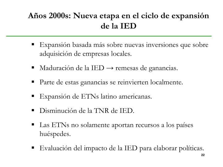 Años 2000s: Nueva etapa en el ciclo de expansión de la IED