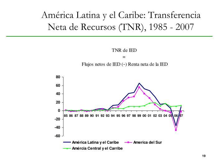 América Latina y el Caribe: Transferencia Neta de Recursos (TNR), 1985 - 2007