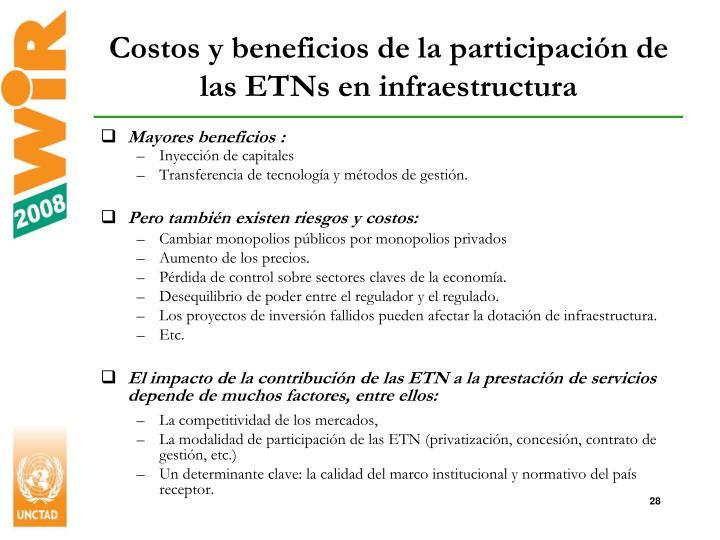 Costos y beneficios de la participación de las ETNs en infraestructura