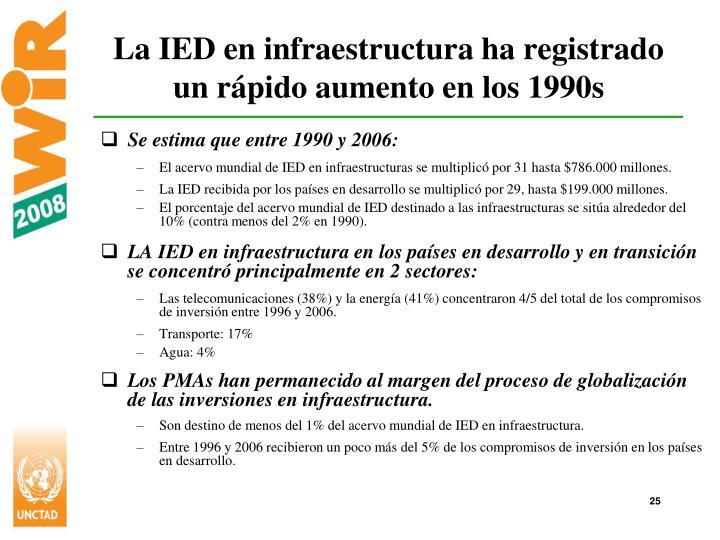 La IED en infraestructura ha registrado un rápido aumento en los 1990s