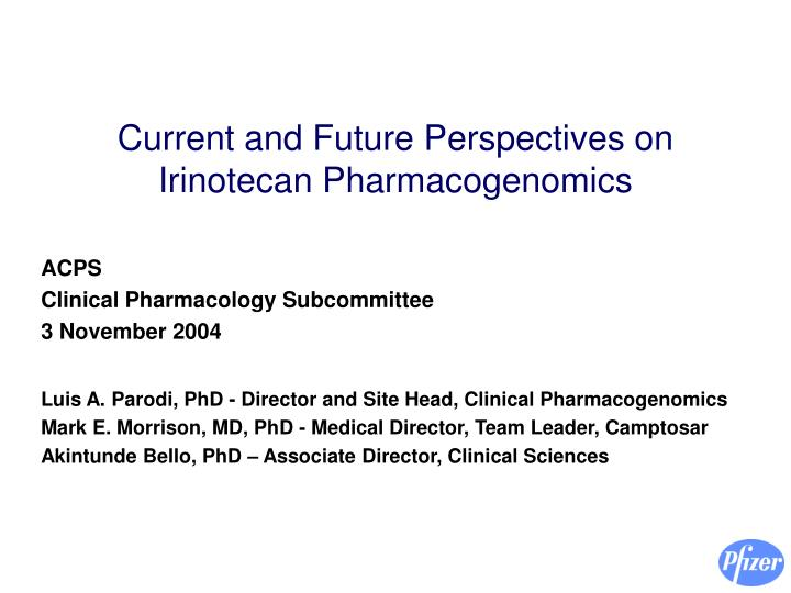 current and future perspectives on irinotecan pharmacogenomics n.