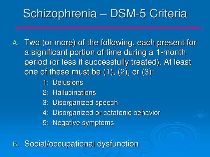 Schizophrenia – DSM-5 Criteria
