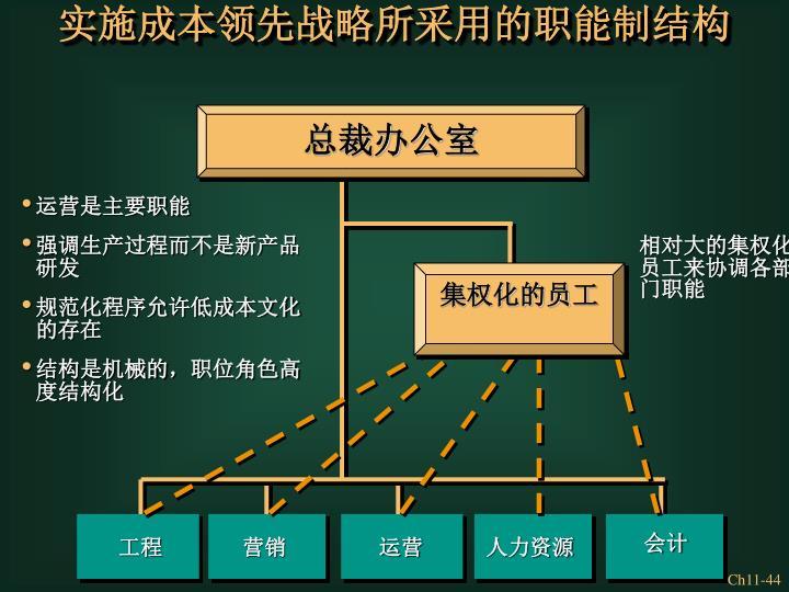 实施成本领先战略所采用的职能制结构