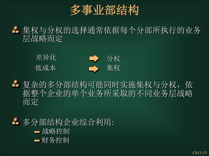 集权与分权的选择通常依据每个分部所执行的业务层战略而定