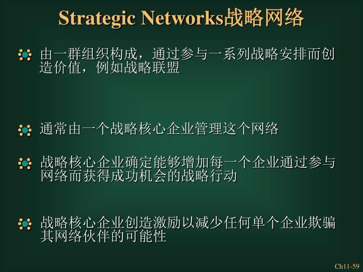 由一群组织构成,通过参与一系列战略安排而创造价值,例如战略联盟