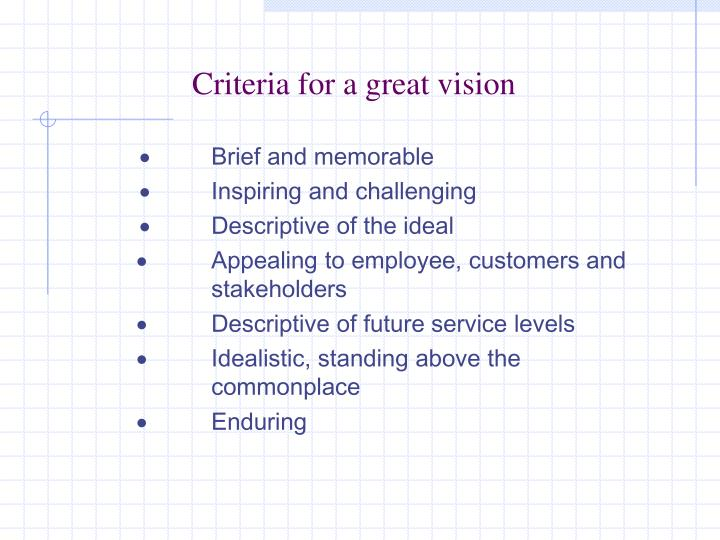 Criteria for a great vision