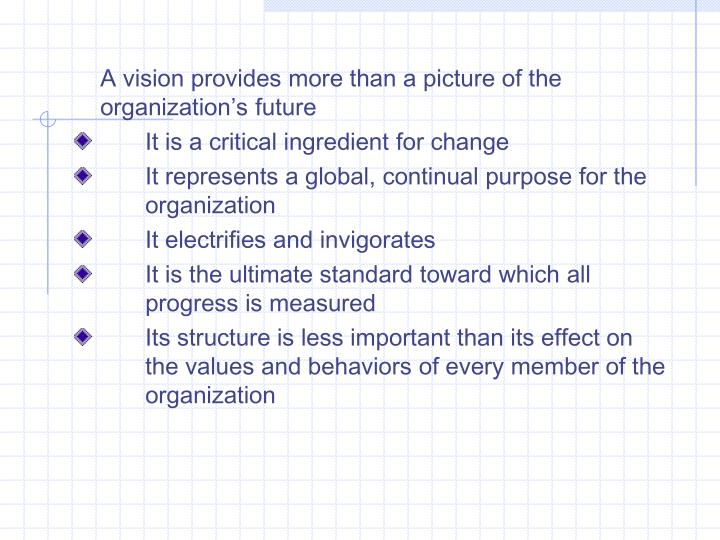 A vision provides more than a picture of the organization's future