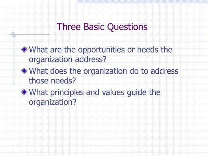 Three Basic Questions