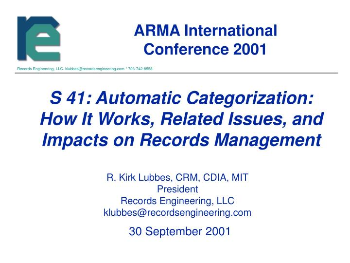 s 41 automatic categorization how it works related issues and impacts on records management n.
