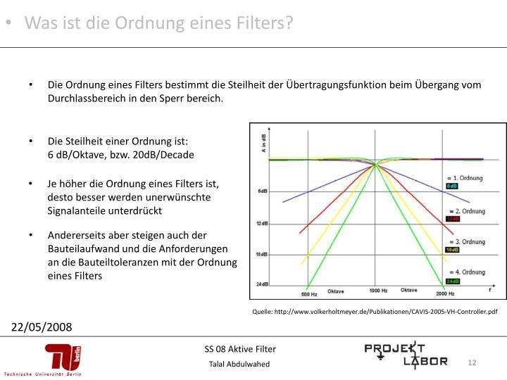 Was ist die Ordnung eines Filters?
