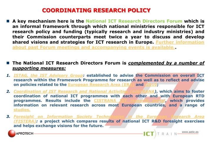 Coordinating research policy