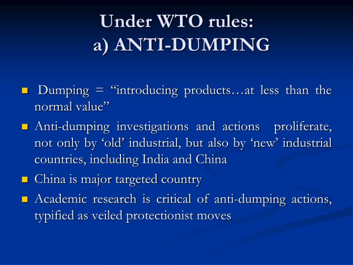 Under WTO rules: