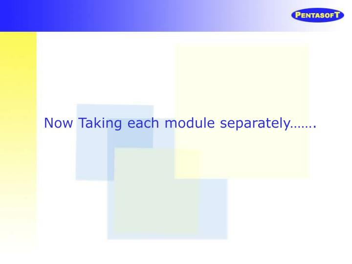 Now Taking each module separately…….