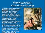 francisca paz s descriptive writing