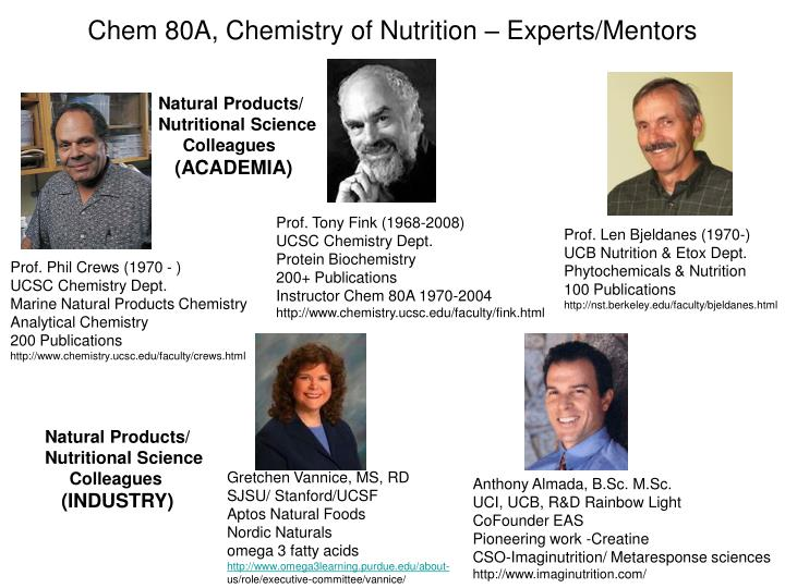 Chem 80A, Chemistry of Nutrition – Experts/Mentors