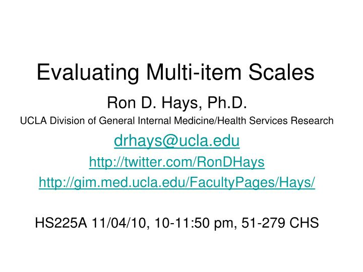 PPT - Evaluating Multi-item Scales PowerPoint Presentation