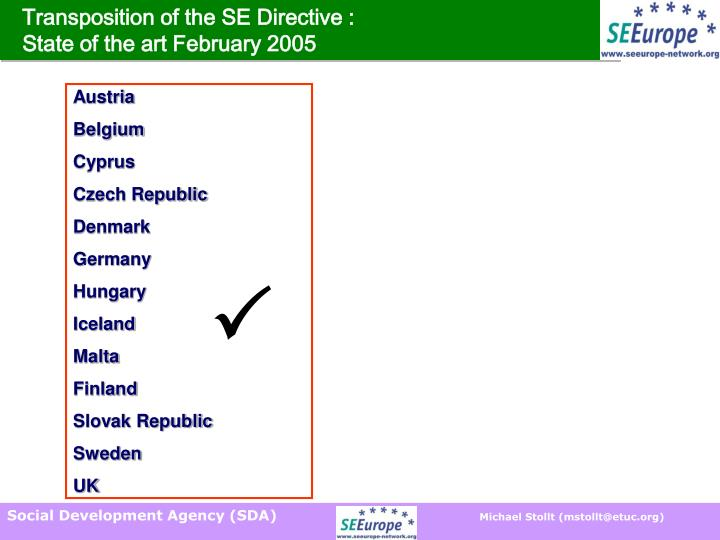 Transposition of the SE Directive :