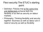 flexi security the etuc s starting point