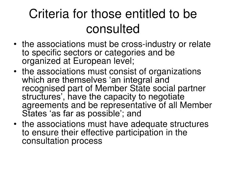 Criteria for those entitled to be consulted