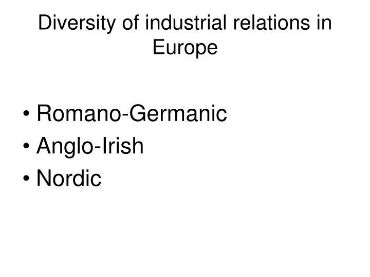 Diversity of industrial relations in europe