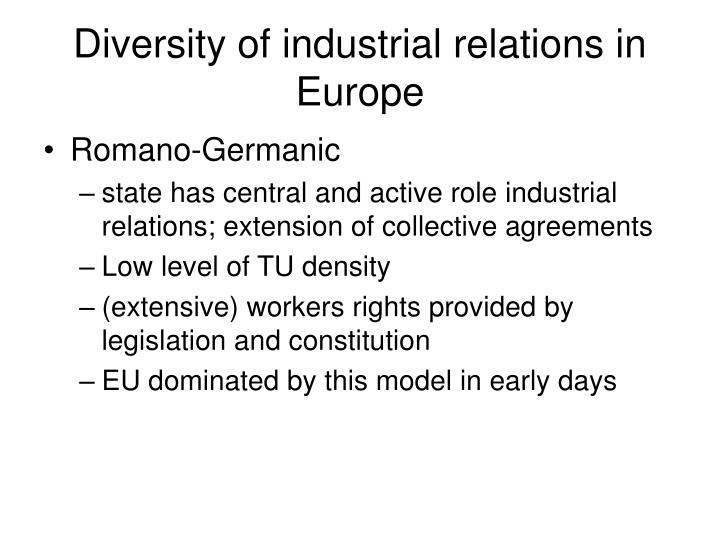 Diversity of industrial relations in europe1