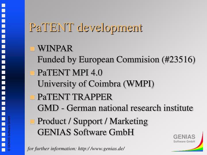 PaTENT development