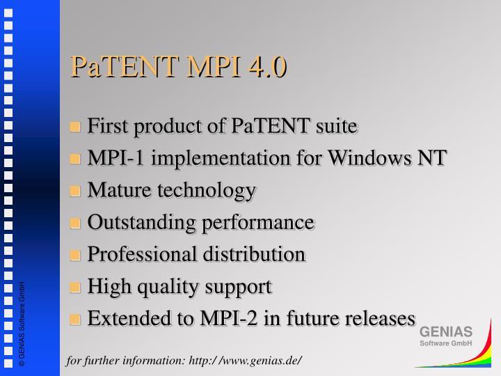 PaTENT MPI 4.0