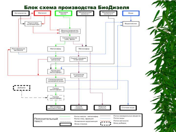 Блок схема производства БиоДизеля