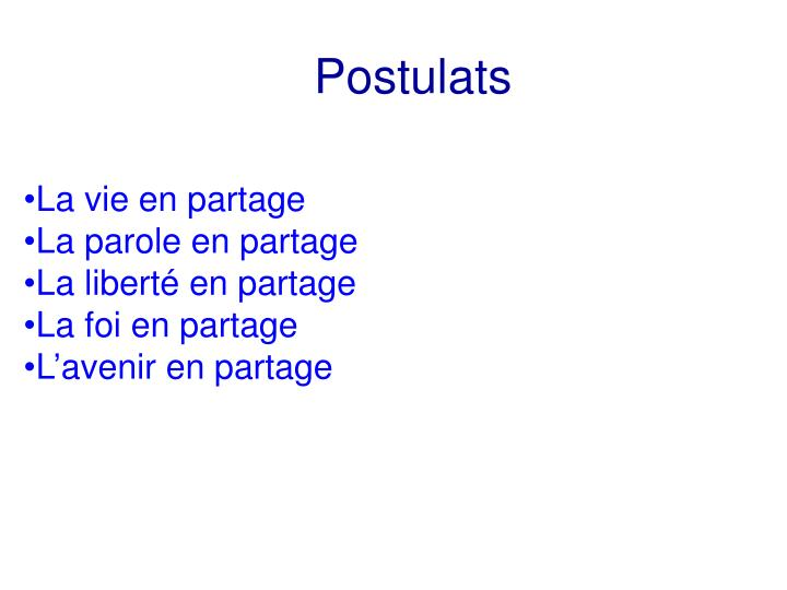 Postulats