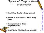 types of tags memory segmentation