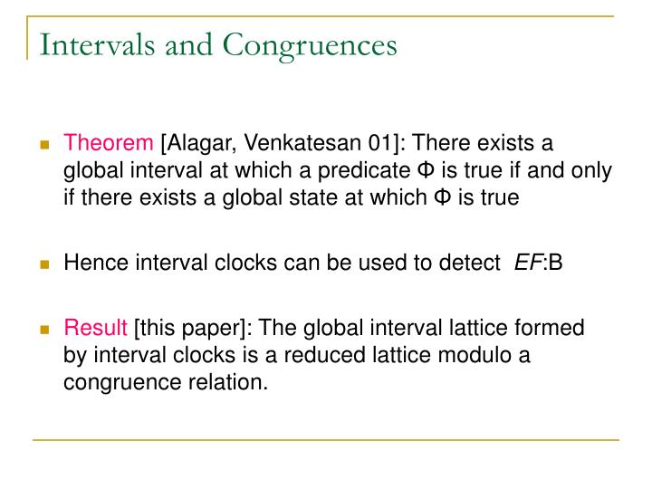 Intervals and Congruences