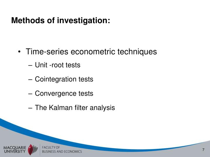 Methods of investigation: