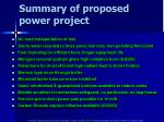 summary of proposed power project